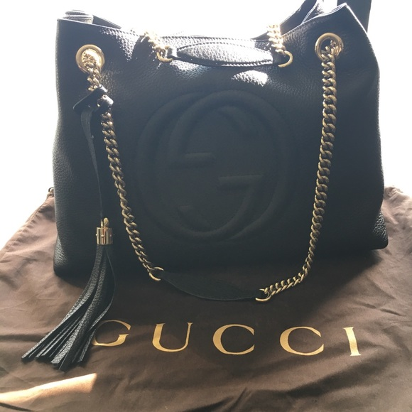 4d957b5efa38 Gucci Handbags - 👛 GUCCI SOHO LEATHER CHAIN MEDIUM TOTE BAG